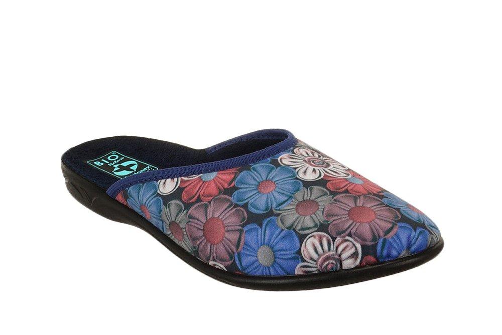 ADANEX 23430 SARA SAL33 NI/CZ niebieski kwiaty, kapcie damskie, sklep internetowy e-kobi.pl