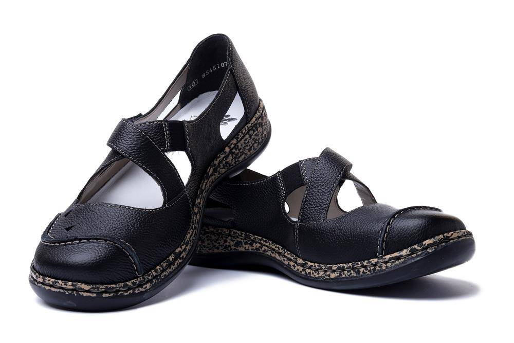 RIEKER 46335-00 black, półbuty damskie, sklep internetowy e-kobi.pl