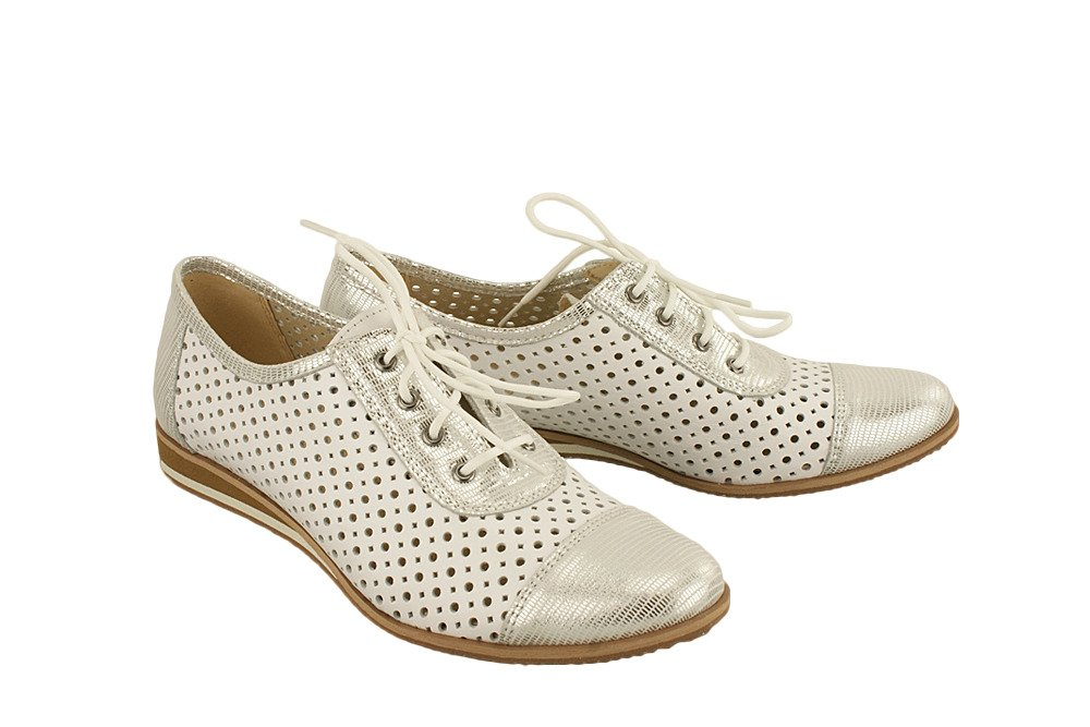 3635ade615b979 IMUNZI 7B293S biały/srebrny, półbuty, baleriny letnie damskie ...