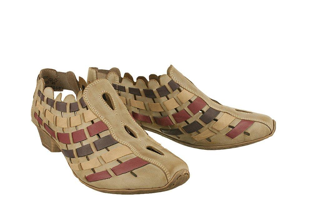 RIEKER 49781 63 beige combination, sandały damskie   Sklep e