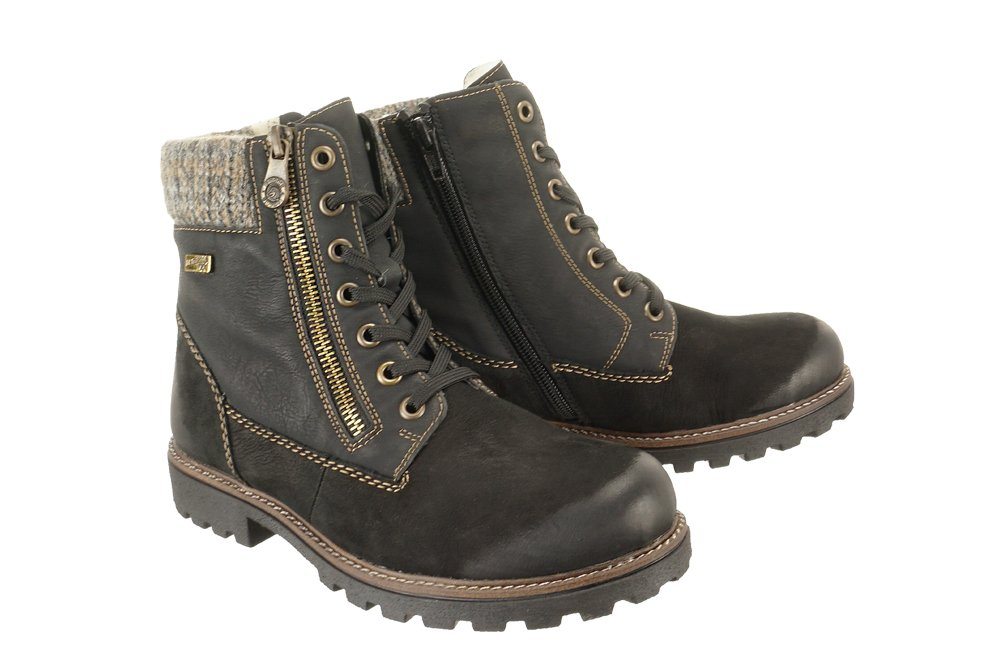 popular stores high fashion low cost RIEKER REMONTE D7486-02 TEX black combiantion, trzewiki damskie